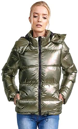 Womens Contrast Colour Panel Metallic Gold Sliver Padded Quilted Parka Jacket