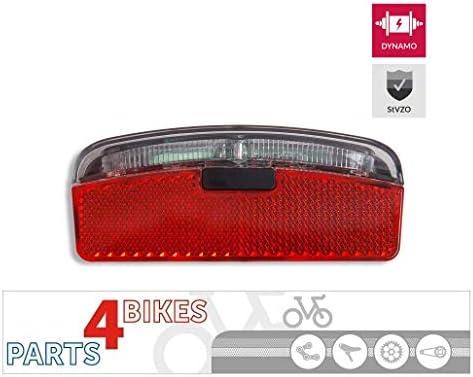 P4B - Luz LED Trasera para Dinamo de Bicicleta con luz de posición, homologación StVZO y Reflector Z para Montaje en portaequipajes (Distancia Entre Tornillos de 80 mm): Amazon.es: Deportes y aire