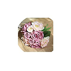 Artificial Flowers for Home Decoration 9 Heads Rose Silk Flower Bouquet for Wedding Party Decoration Fake Flower,White Purple 115