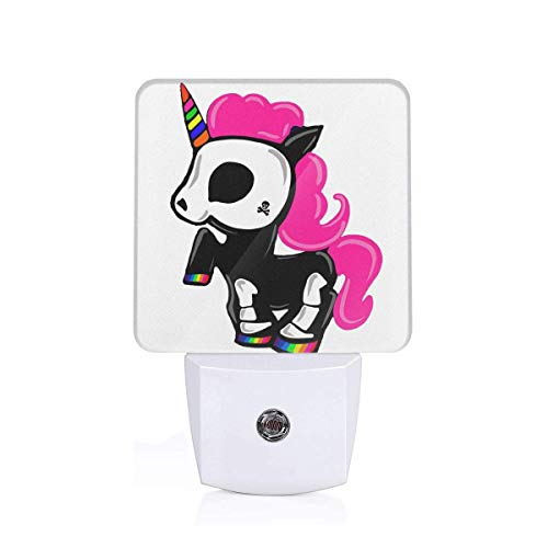 Halloween Unicorn Skull Kid Pink Hair Skeleton Mohawk Themed 3D Printed Led Night Light Lamp Bedroom Decorations Decor Home Wall Ornament Merchandise Supplies Accessories Items Products Glow