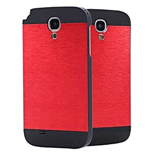 CeeMart PC with Metal Wire Drawing and Black Frame Back Case for Samsung Galaxy S4 i9500 Red
