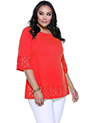 Belldini Womens Plus Size 3/4 Bell Sleeve Tunic with Laser Cutout on Sleeves and Hem - Poly Spandex Crepe Jersey