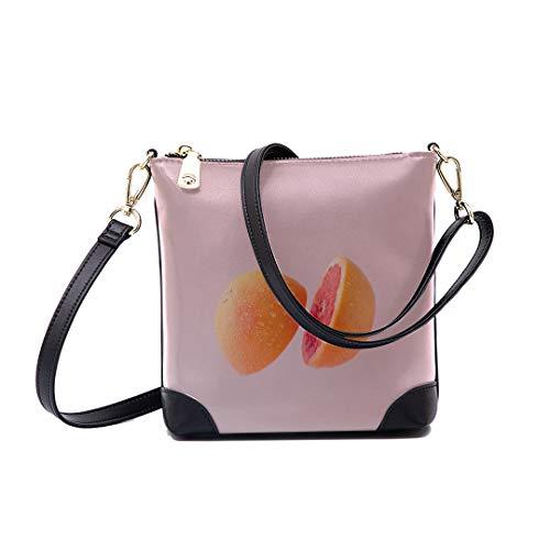 Shoulder Bag Grapefruit Sliced On Pastel Pink For Women Bucket Crossbody