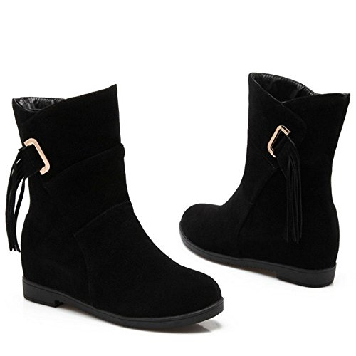 Women's Heels Fashion Ankle Black COOLCEPT Boots Wedges Mid qUZwUACd