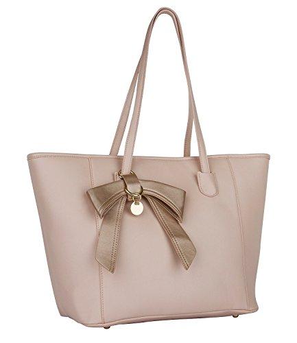 SIX-Basic-groe-Damenhandtasche-Shopper-Schultertasche-in-nude-rosa-mit-groem-goldenem-Schleifen-Anhnger-463-416