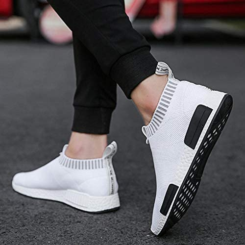 JFHGNJ Scarpe da Uomo in Sughero Sneakers Uomo Sneakers da Uomo in Mesh Traspirante Slip on Calze Leggere Non Casual in Pelle Scarpe da Uomo-Nero_9