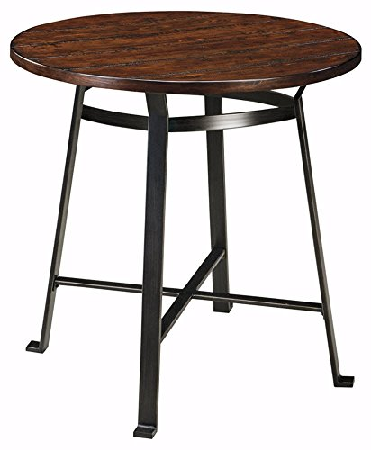 Ashley Furniture Signature Design - Challiman Dining Room Bar Table - Pub Height - Round - Rustic Brown (Bar Tables Pub And)