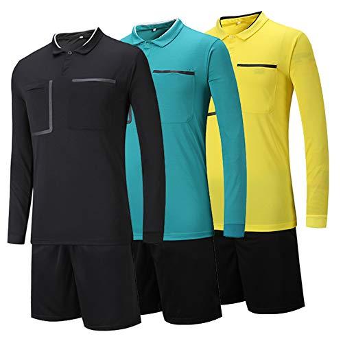 Shinestone Men and Women Soccer Long Sleeves Referee Jersey Referee T-Shirt (Yellow, Small)