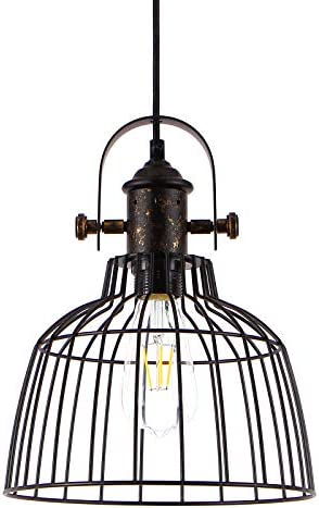 Fashionou Industrial Pendant Light, Vintage Retro Hanging Cage Lighting Fixtures for Kitche Dining Room, Adjustable Hanging Height Farmhouse Pendant Lamp Bulb NOT Included