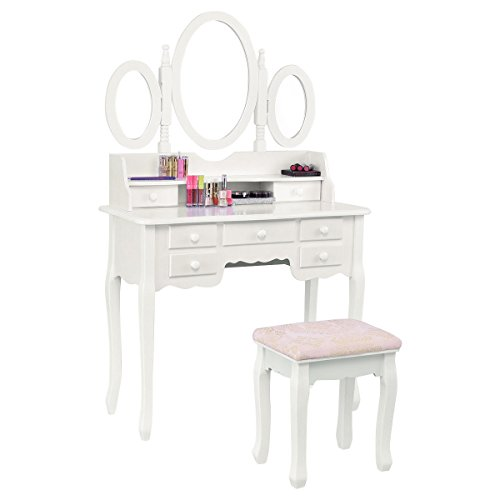 Set Tri-folding Mirror Make up Vanity Table Soft Padded Bench W/7 Drawer (Mirrored Set Bench)