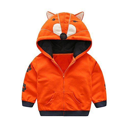 (Nevera Infant Toddler Kids Baby Boy Girl Cartoon Animal Hooded Zipper Tops Clothes Coat Orange)