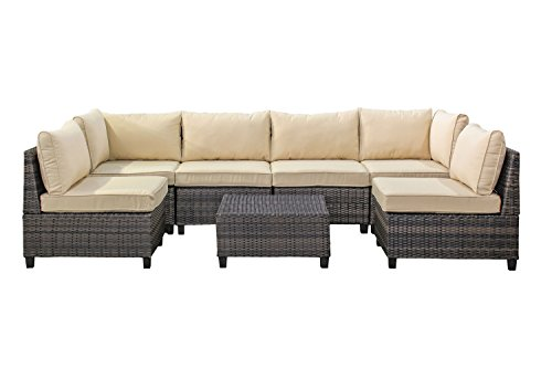 Tampa 7 Piece Outdoor Rattan Wicker Sofa Sectional Sets - Perfect Patio, Deck, Porch and Sunroom Furniture Set - Long Lasting Comfort - Deep Seating Sofas for Lounging and Dining with Cushions,Beige