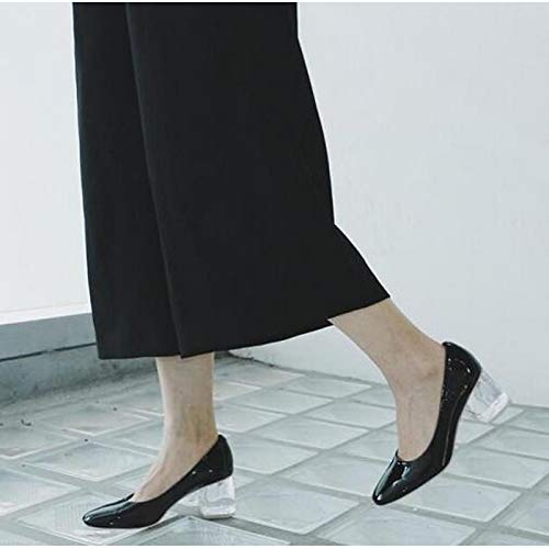 White Fall Patent Heel Almond Women's Shoes Leather Comfort ZHZNVX Black White Heels Chunky wgZqRx