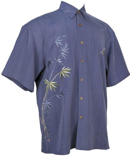 Bamboo Cay Mens Short Sleeve Flying Bamboos Casual Embroidered Woven Shirt (Large, Infra Blue) Bamboo Mens Aloha Shirt