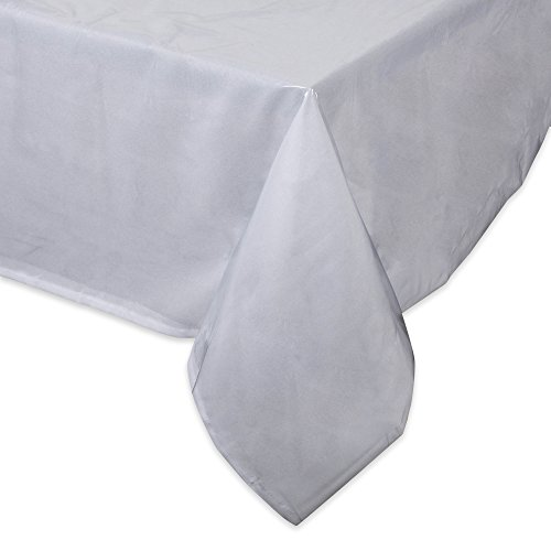 J&M Home Fashions Crystal Clear Table Top Protector, 70×108, Plastic Tablecloth Kitchen Dining Room Wood Furniture Protective Cover