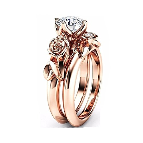 Ztuo Cubic Zirconia CZ Rings Wedding Set Vintage Lotus Flowers Leaf Infinity Eternity Rose Gold Size 6