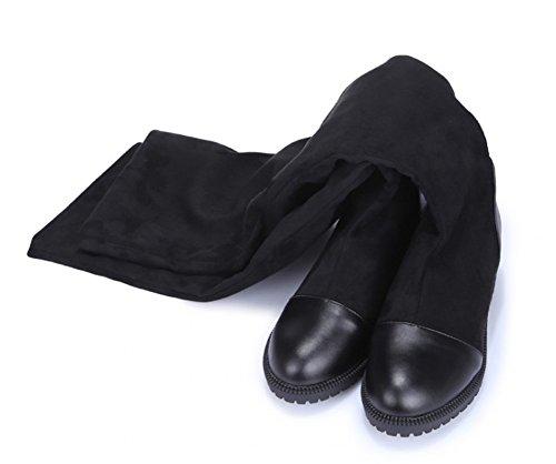 Aisun Dames Comfortabele Warme Ronde Neus Elastische Jurk Lage Hak Slip Op Overknee Hoge Hoge Laarzen Zwart