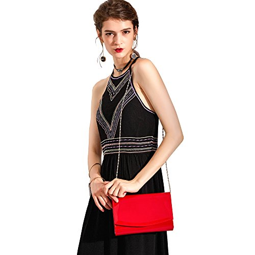 Color Red Bag Evening Handbag Purses Leather WALLYN'S Women Wallets Patent Fashion Clutch Solid qTnA4P7w