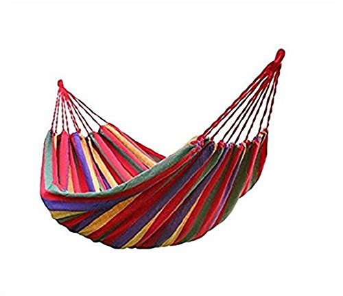 BeiLan Hammock Camping Double & Single Tree Hammock,Lightweight Parachute Portable Colorful for Hiking, Travel, Backpacking, Beach, Yard(Red) ()
