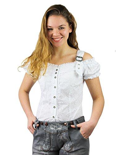 Tolle Damen Trachten Bluse mit Träger in 7 Farben Gr. XS-XXL Deutscher Hersteller (XXL, weiß)