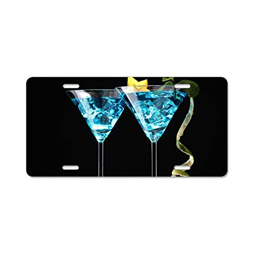 - SUJQNGC Steel Cocktails Bombay Gin Ice Mint Lime License Plate Frame for Home/Car Decor