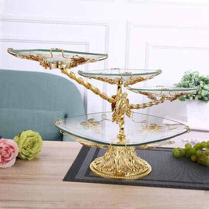 T-JMGP Multi-layer fruit dish Fruit fight European fruit plate creative glass fruit plate luxury double layer three-layer coffee table four layers, gold diagonal four layers ()