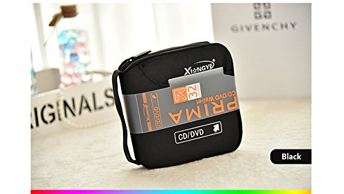 32 Capacity CD/DVD Disc Case Storage Holder CD Wallet Organizer Bag for Car, Home, Office and Travel (Black)