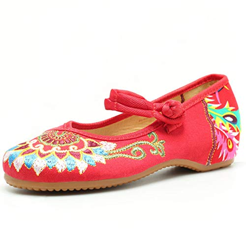 (Embroidered Flats Shoes Women's Chinese Embroidery Ballet Slip on Comfortable Bohemia(9.5-10B(M) US/CN43/26.5CM,Red))
