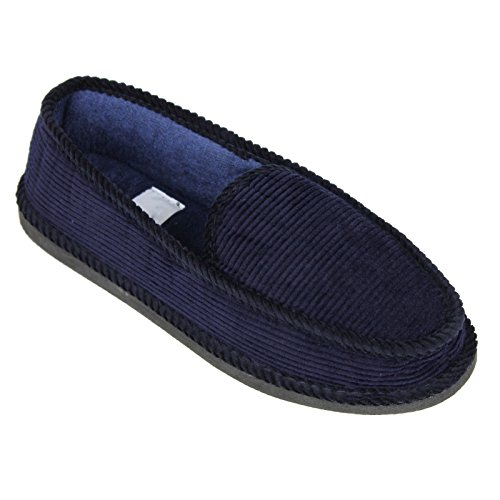 Moccasins Men's House Slip Slippers Navy on Corduroy Shoes Loafers v77wrxtPq