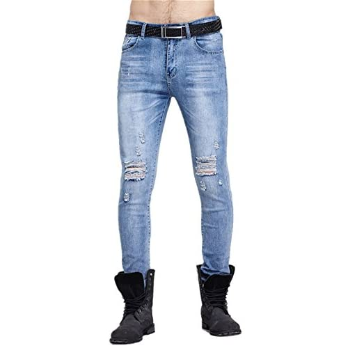 6d2e78b9840c hot sale Allonly Men's Fashion Casual Skinny Fit Straight Leg Jeans Pants  With Broken Holes