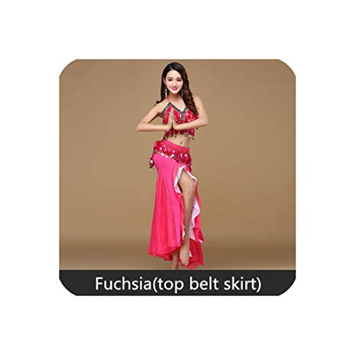 Belly Dance Costume Women Dance Coins Tops for Slim Girls Belly Dance Skirt,Fuchsia Top Belt Ski