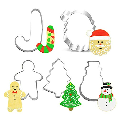 Flowerherd Christmas Cookie Cutter Set With Decorating Stencil Mold - 10 Piece Boxed Set - Christmas Tree Gingerbread Boy Christmas Crutch Snowman Santa Claus Stainless Steel Cookie Tools