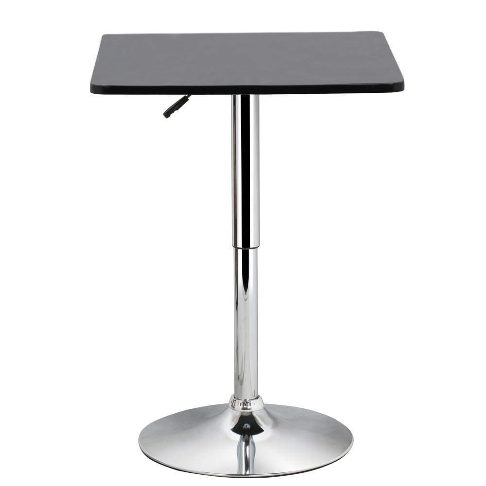 Yaheetech Bar Table Pub table High Top Table Black Square Table MDF Top Swivel Counter Height Adjustable 27.6-35.4
