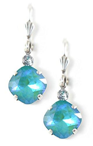 Clara Beau Fancy 10mm SeaGlass Swarovski Crystal accented Vintage Shell Earrings ES37 SilverTone - SeaGlass