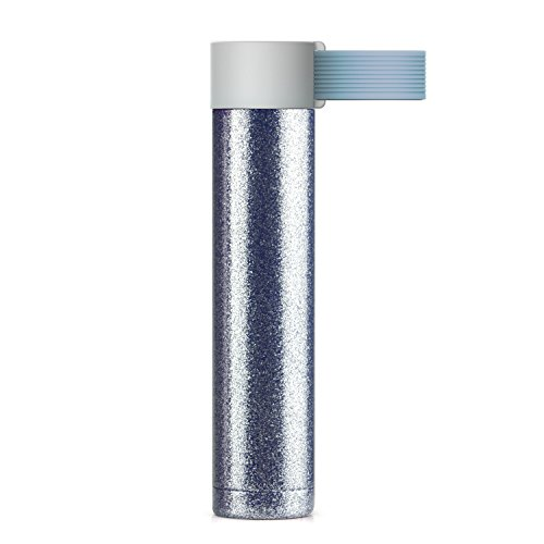 asobu Skinny Glitter Fashon Forward Double Walled Stainless Steel Insulated Water Bottle Bpa Free 8 oz (Blue)