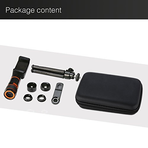 6-in-1 Cell Phone Camera Lens Kit, 12x Telephoto Zoom Lens, 0.62x Wide Angle & 20x Macro, 235° Fisheye, Starburst, and Professional CPL Lens+ Phone Holder & Tripod for iPhone X/8/7/6/6s Plus, Android, by Distianert (Image #7)