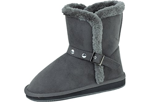 Sunville New Women's Short Grey Faux Suede Boots Size 9 - Suede & Faux Fur Boot