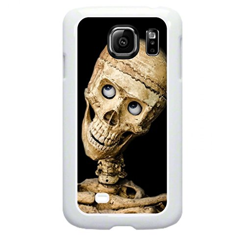 Smiling Skeleton- © Hard White Plastic Snap On Case Compatible with the Standard Samsung® Galaxy s6 Only (Not the s6 Edge or Edge Plus) Made in the U.S.A.
