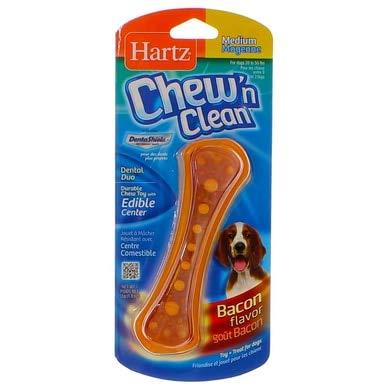 Hartz Chew N' Clean Dental Duo Dog Chew Toy Bacon Flavor, Medium 1 ea(Pack of 12)