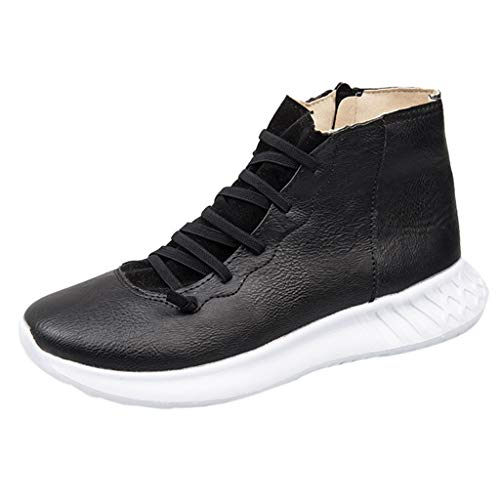 Women Zipper Slip on Sneakers Soft Leather Flat Walking Runing Tennis Shoes High Top Lace up Ankle Boots