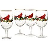 Lenox Winter Greetings Cardinal Iced Beverage Glasses (Set of 4), Clear