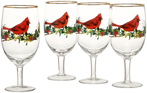 (Lenox Winter Greetings Cardinal Iced Beverage Glasses (Set of 4), Clear)