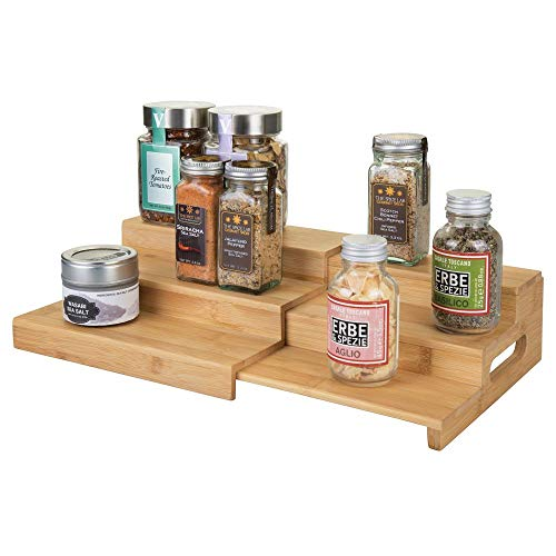 (mDesign Bamboo Expandable Kitchen Cabinet, Pantry, Shelf Organizer/Spice Rack - 3 Level Storage, Easy Pull Out Handle, Eco-Friendly, Expands up to 15