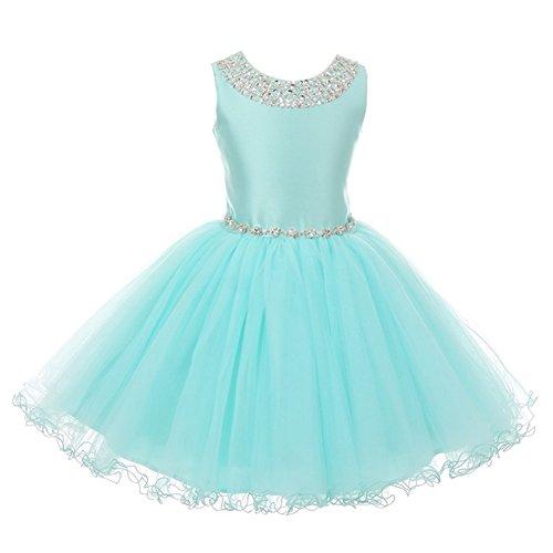 Satin Cinderella (Cinderella Couture Big Girls Aqua Rhinestone Adorned Satin Tulle Junior Bridesmaid Dress 12)