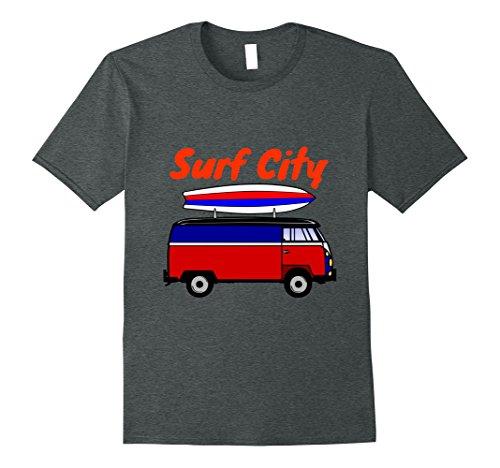 Mens Surf City Huntington Beach Vintage T-shirt Large Dark Heather (Beach Mens Vintage T-shirt)