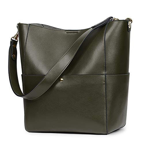 S-ZONE Women's Vintage Leather Bucket Tote Shoulder Bag Hobo Handbag Purse (Olive-Green-Upgraded Version)