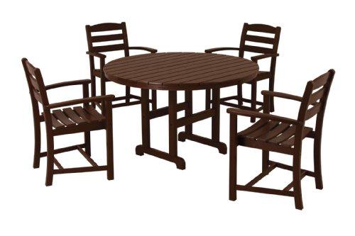 Mahogany Patio Furniture (POLYWOOD PWS132-1-MA La Casa Café 5-Piece Dining Set, Mahogany)