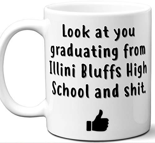 Illini Bluffs High School Graduation Gift. Cocoa, Coffee Mug Cup. Student High School Grad Idea Teen Graduates Boys Girls Him Her Class. Funny Congratulations. 11 oz.