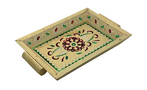 Cheap  Khandekar (with device of K) Wooden Handmade Meenakari Design Serving Tray, Kitchen..