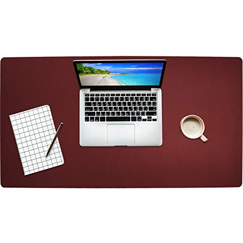 Getfitsoo Leather Desk Pad, Laptop Desk Mat, Waterproof Desk Writing Pad at Office and Home, Super Comfortable Surface Leather Mat,31.5x15.7 Perfect Size Leather Desk Blotter (Claret-red)